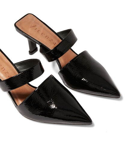 Pointed Toe Patent Mules