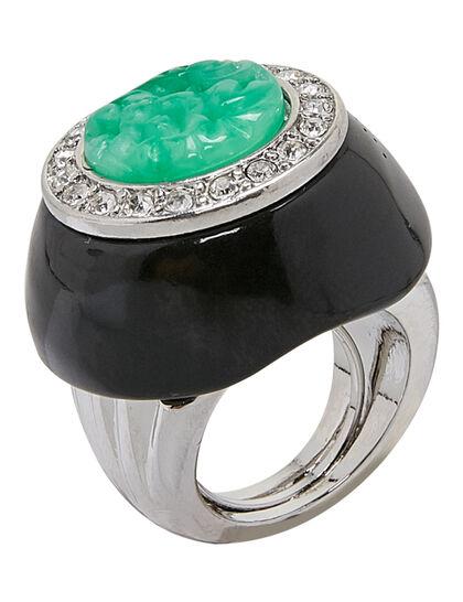 Kjy Silver/Crystal Setting Black Base And Jade Center Ring