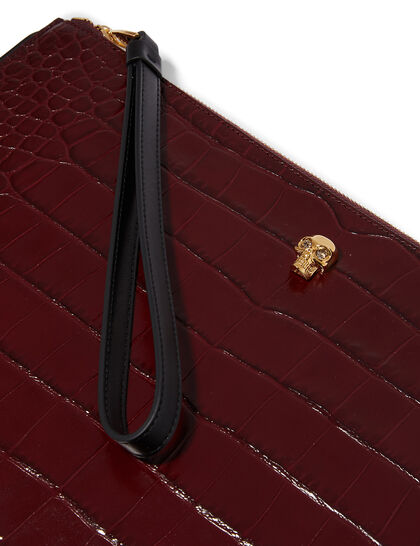 Skull Croc-Embossed Leather Pouch