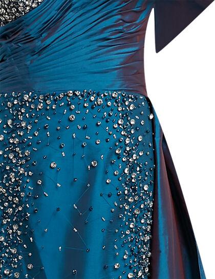One Shoulder Beaded Taffeta Overskirt Gown