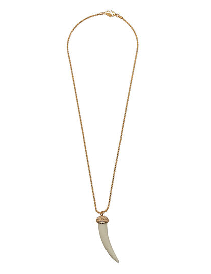 Kjy 34 Gold Rope Chain Ivory Long Tusk Neck