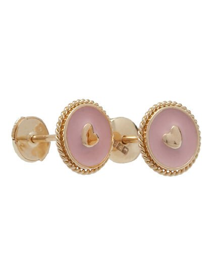 Pink Sky Heart Compass Stud Enamalled Token With Heart On The Center Hand Twisted Rope Over Circle Flat Back Comfort Fit