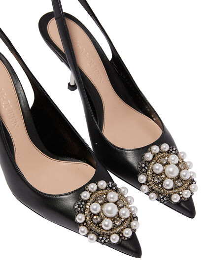 Embellished Leather Kitten Pumps
