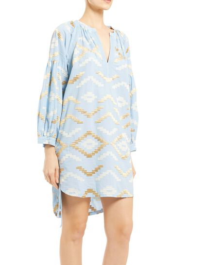 Short Dress With Long Sleeve 100% Cotton, Embroidery Thread 100% Polyester