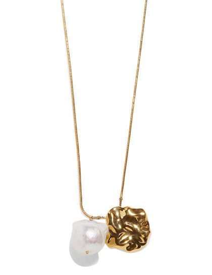 Gold Plated Waves Pearl Pendant