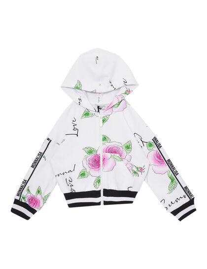 Short Sweatshirt Has A Delicate Roses Print