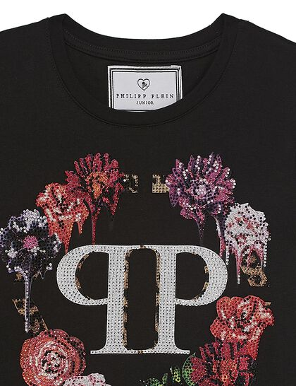 T-Shirt Round Neck Ss Crystal Flowers