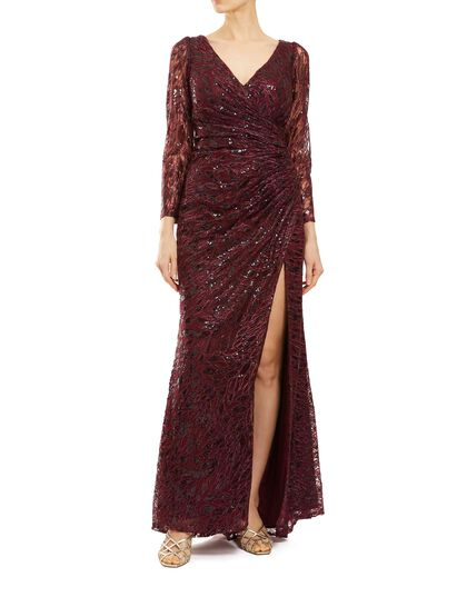 Lace Ruched Wrap Gown
