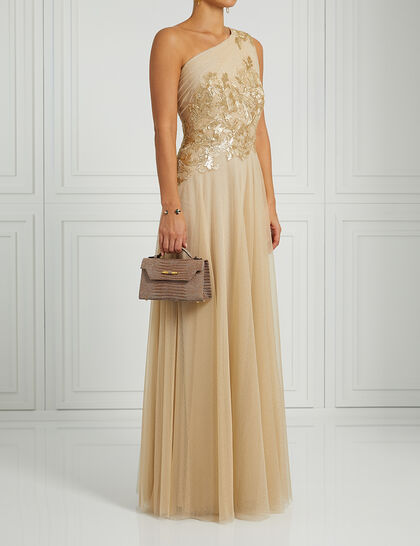 One Shoulder Sequin Tulle Gown