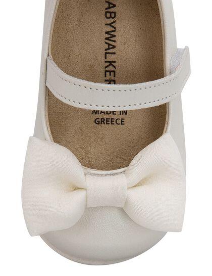 Chiffon Bow Embellished Leather Ballerinas