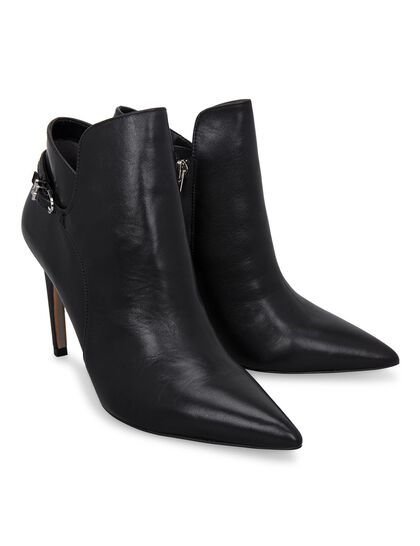 Leather Tapered Heel Ankle Boots
