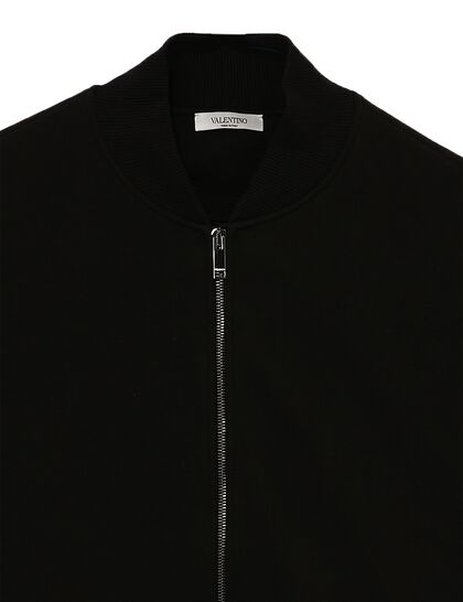 Zipped Bomber Jacket Nylon Sleeves