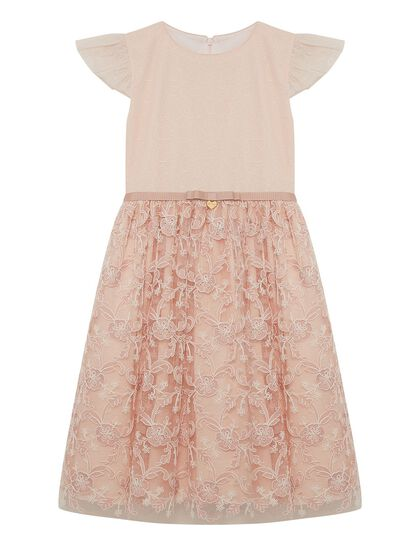 Pink Embroidery Lace Girl Dress
