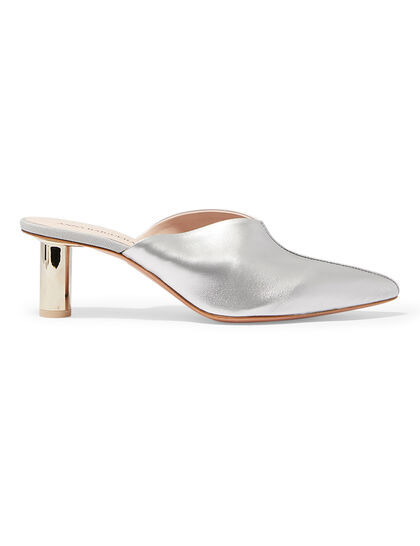 Annavy 22902 - Metallic Silver Pointed Toe Mule On Cylindrical Laminated Heel
