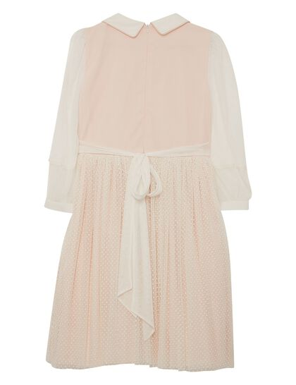 Peach And Off White Tulle Girl Dress