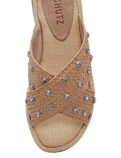 Raffia Cross Flat Sandals
