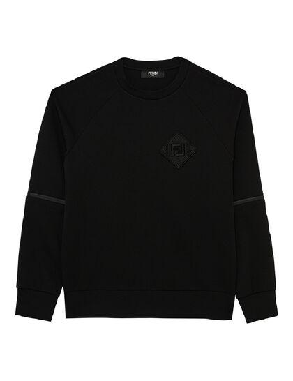 Fishnet Zipper Inserts Sweatshirt - Black