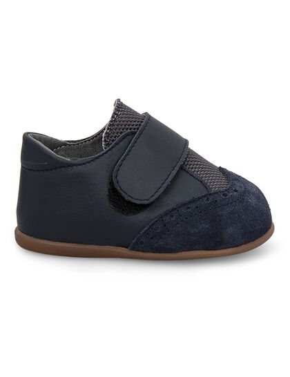 Single Strap Velcro Closing Oxford Brogues