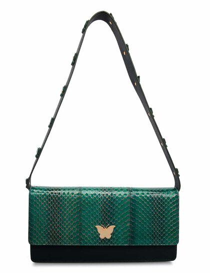 Camellia Water Snake & Caviar Leather Bag