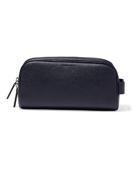 Award Wash Bag – Italian Leather Navy Blue