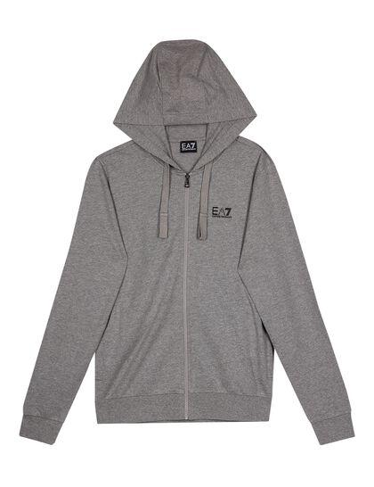 Zipped Cotton Hooded Sweatshirt