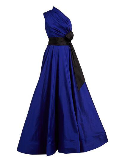 Light Taffeta Shoulder Cut Evening Dress
