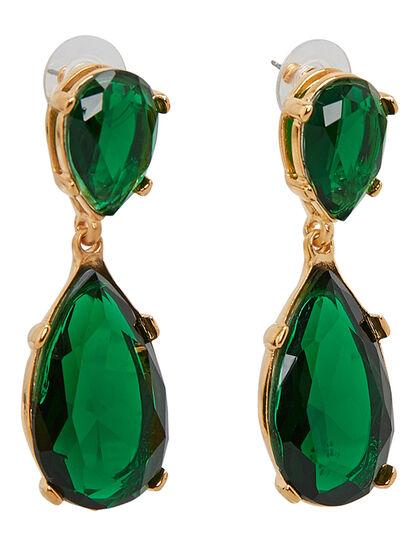 Kjy 2 Gold/Emerald Teardrop Glass Stone Top & Drop Pierced Earring