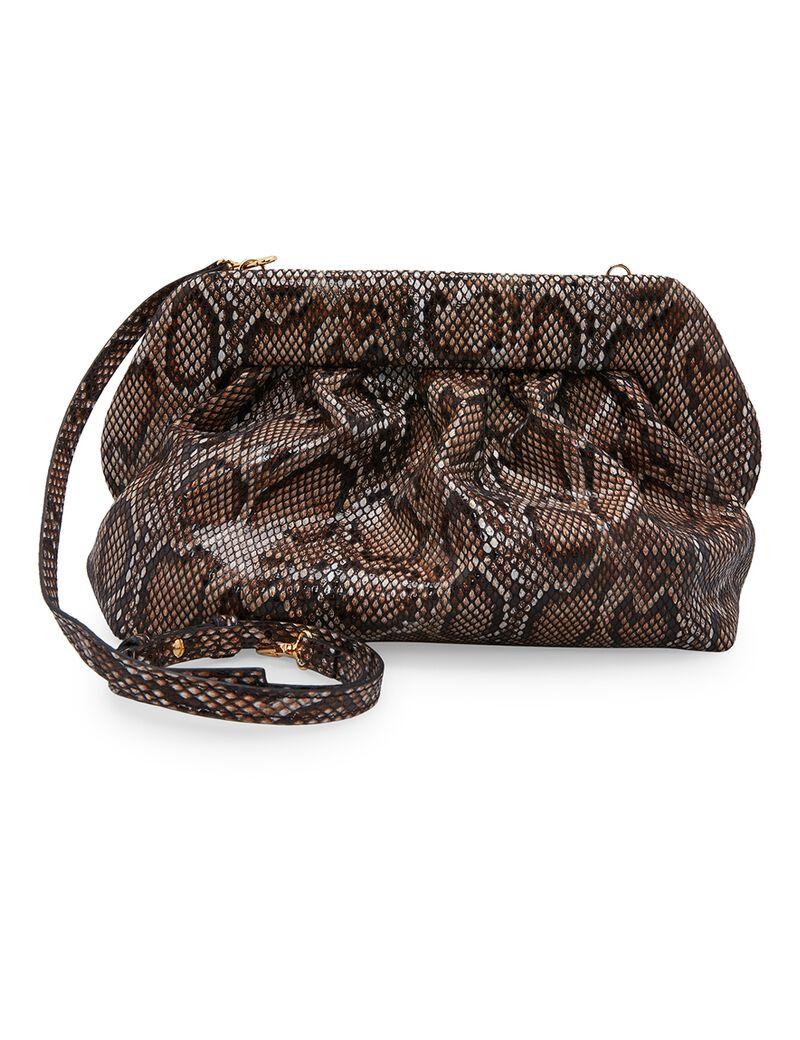 Bios Python-Print Leather Clutch Bag