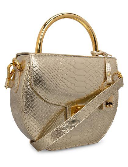 Metallic Camelia Medium Handbag