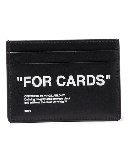 Calf Skin Quote Cardholder Black White