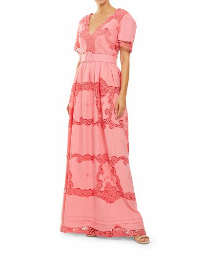 Loanna - Linen Plunging-Neckline Gown With Traditional Greek Reticella Lace Detail & Coordinating Belt
