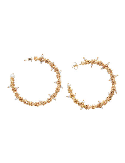Twisted Wires Hoop Earring With Mini Pearls