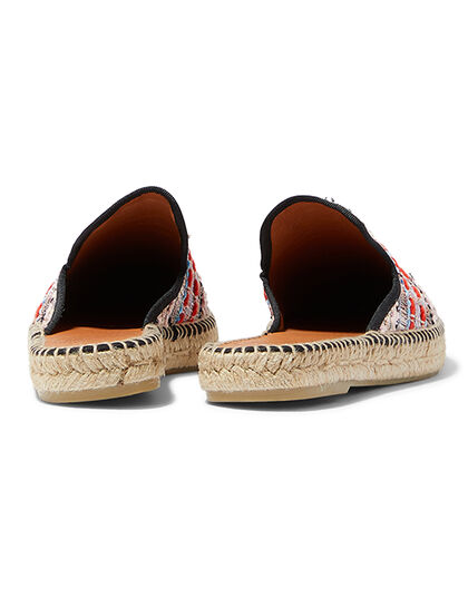 Easy Slip-On Style The Upper Is Made Of Embroidered Fabric Pointed Toe And Open Back Constructfabric