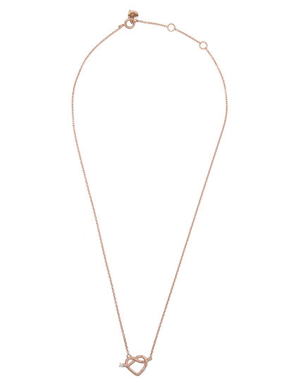 Promise Necklace Kids Mini Heart Knot With Diamond On Chain, Spring Lock And Signature Heart Logo
