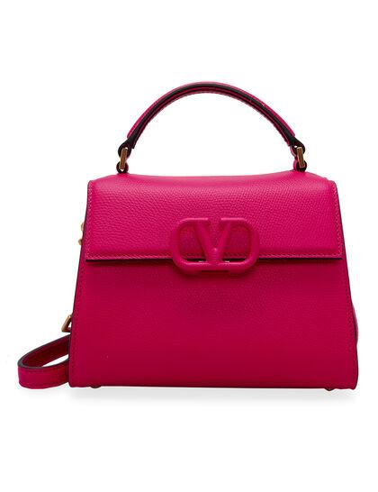 V-sling Leather Top Handle Bag