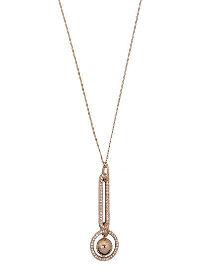 Long Double Link Pendant. Brass, Gold Plated & Strass