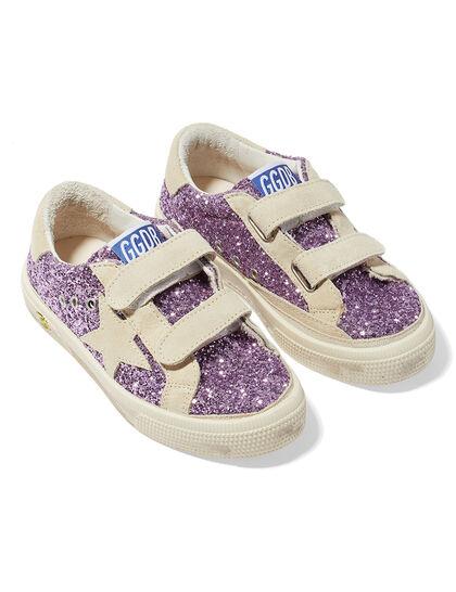 May School Glitter Upper Suede Stripe Star And Heel