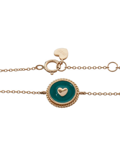 Green Earth Heart Compass Bracelet Enamalled Token With Heart On The Center, Hand Twisted Rope, Spring Lock And Signatur