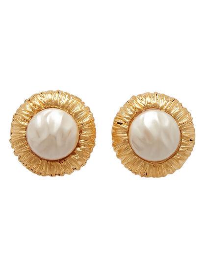 Kjy Satin Gold Cultura Pearl Button Clip Ear