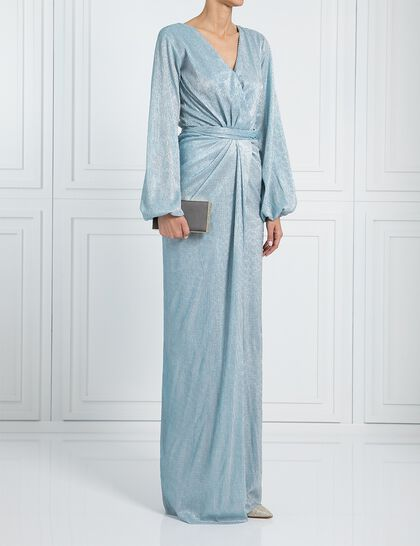Long Sleeve With Slit Shimmery Dress