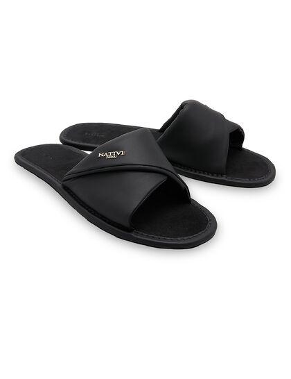 Leather Slides In Black