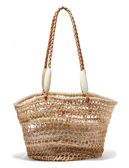 Woven Drawstring Shoulder Bag
