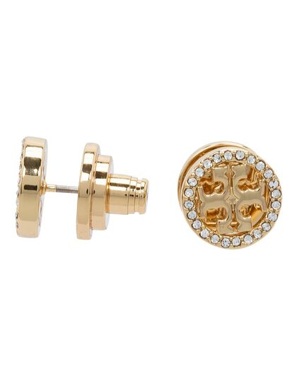 Crystal Logo Circle-Stud Earring