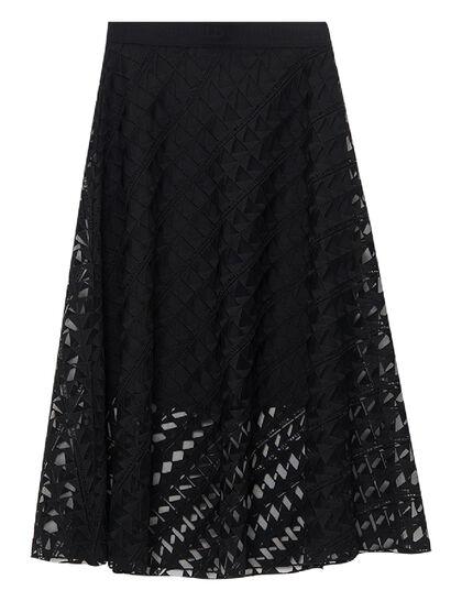 Karl Embroidered Mesh Skirt