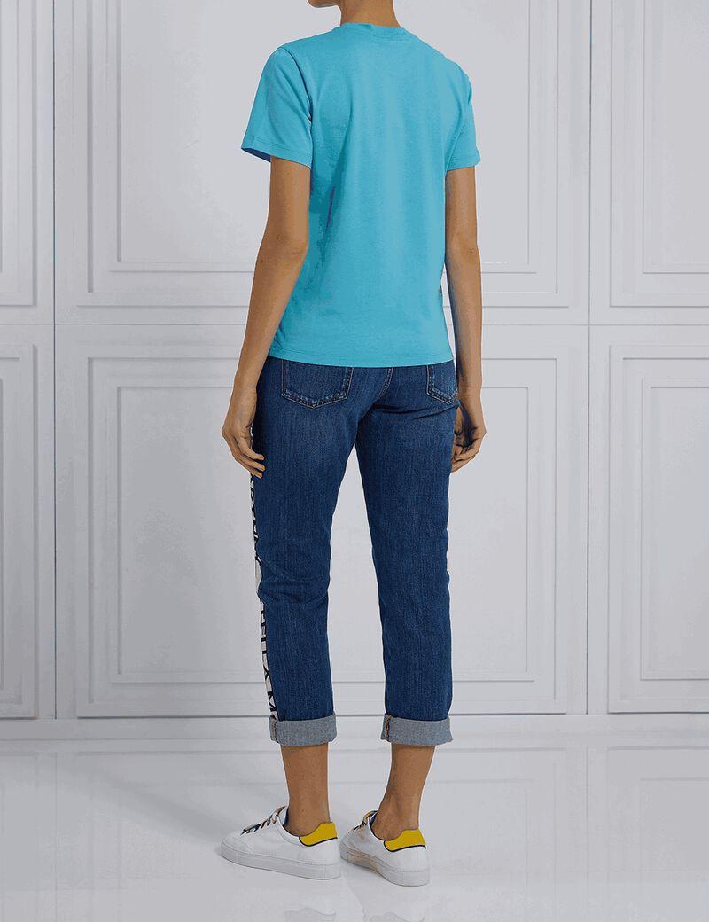 Logo Band Skinny Boyfriend Jeans - Blue