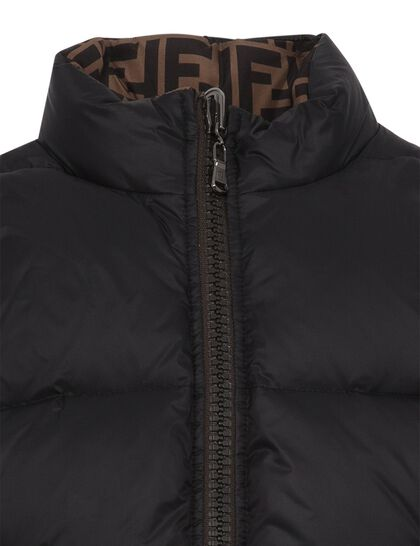 Puffy Jacket Sleevless Reversible All Over Ff Brown Logo