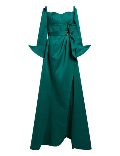 Off The Shoulder Jewel Waist Mikado Gown