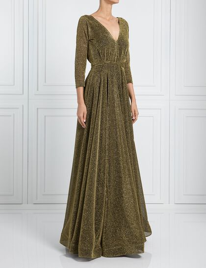 V Cut Shimmery Evening Dress