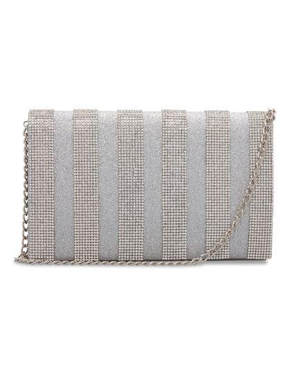 Striped Crystal Clutch