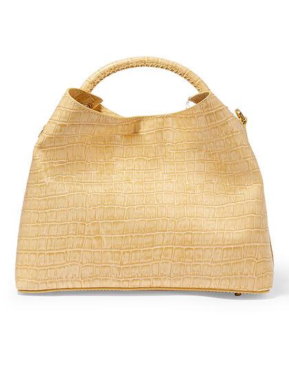 Raisin Croc-Embossed Shoulder Bag